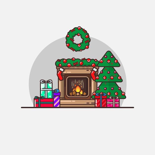 Ilustração de natal de ano novo Vetor Premium