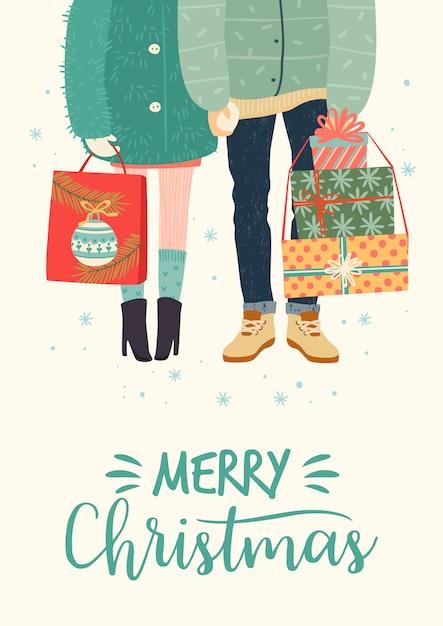 Ilustração de natal e feliz ano novo com par romântico com presentes Vetor Premium