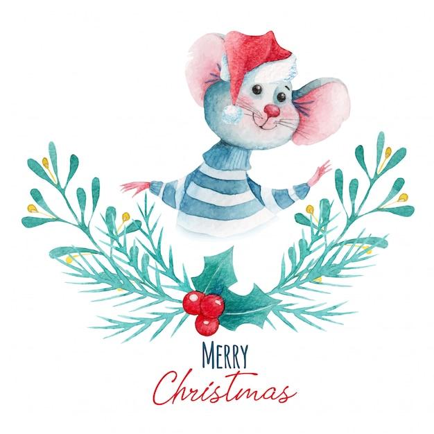 Ilustração de natal em aquarela de elementos de rato e decoração dos desenhos animados Vetor Premium