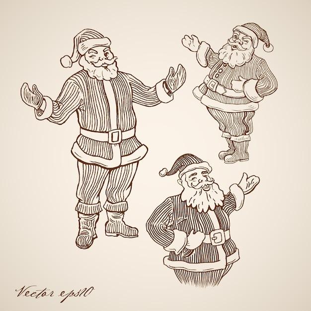 Ilustração de natal gravada Vetor grátis