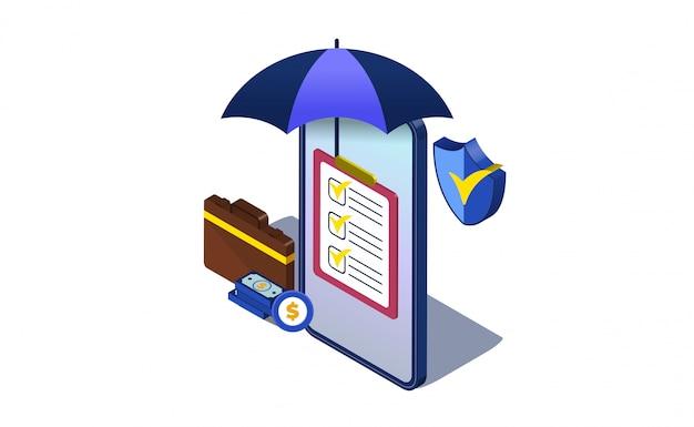 Ilustração de negócios seguros conceito com isométrica. guarda-chuva, bolsa e escudo Vetor Premium