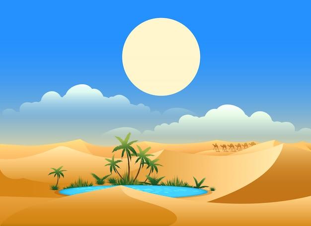 Ilustração de oásis no deserto Vetor Premium