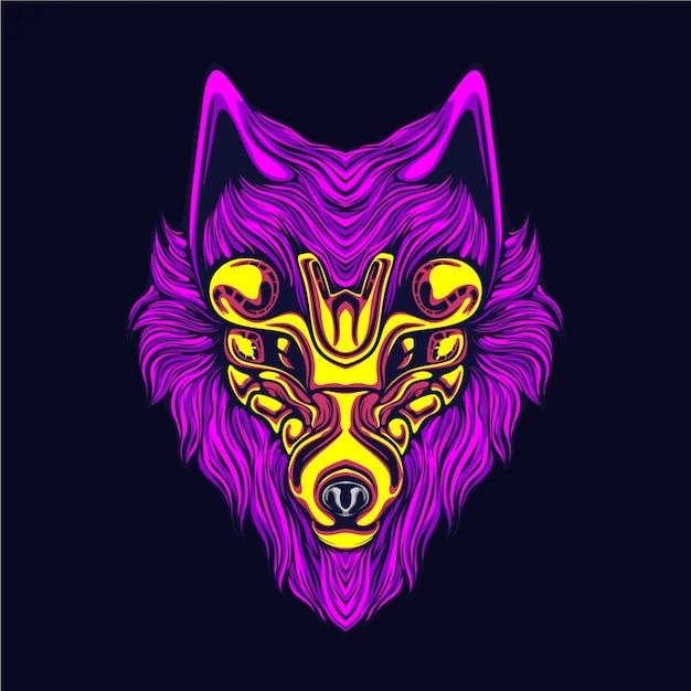 Ilustração de obras de arte lobo brilho Vetor Premium