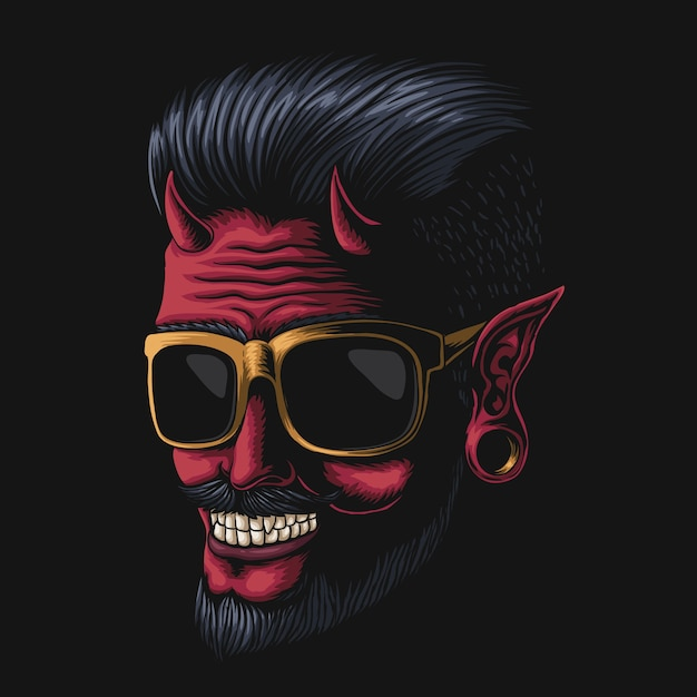 Ilustração de óculos do devil man Vetor Premium