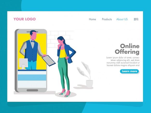 Ilustração de oferta on-line para a página de destino Vetor Premium