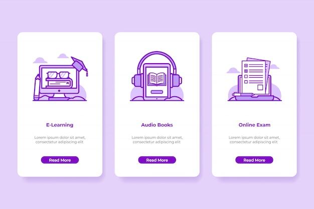 Ilustração de onboarding de educação on-line Vetor Premium