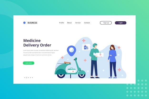 Ilustração de ordem de entrega de medicamento para o conceito médico na página inicial Vetor Premium