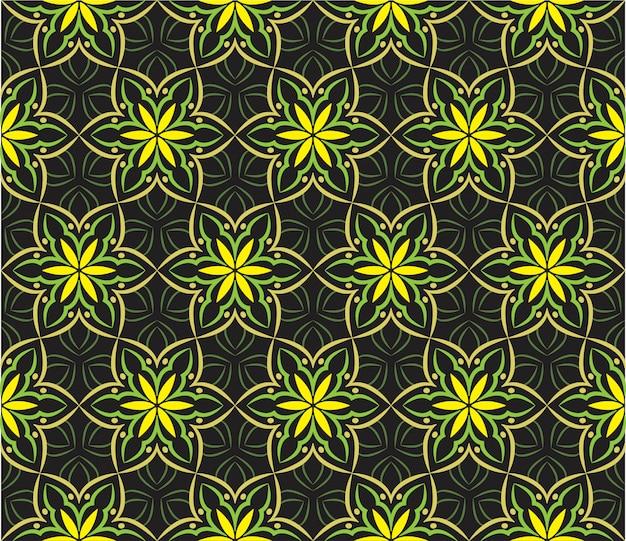 Ilustração de ornamento abstrato, padrão sem emenda com flores Vetor Premium