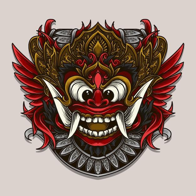 Ilustração de ornamento de gravura de barong balinesa Vetor Premium