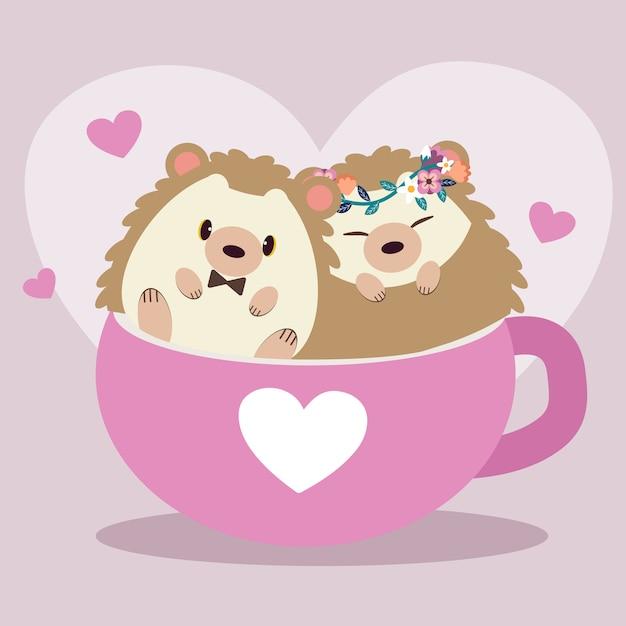 Ilustração de ouriços fofos Vetor Premium