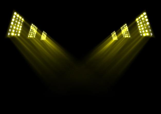 Ilustração, de, ouro, fase, luzes, fundo Vetor Premium
