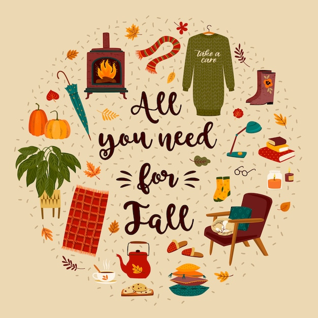 Ilustração de outono com coisas fofas caseiras para o outono Vetor Premium