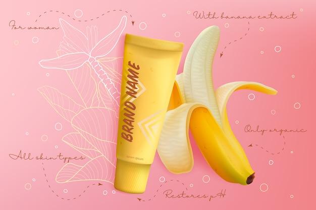 Ilustração de pacote de banana cosméticos pele. produto realista em gel ou creme para a pele do rosto com extrato natural de banana, embalagem em frasco de tubo amarelo, fundo de maquete de cosmetologia Vetor Premium