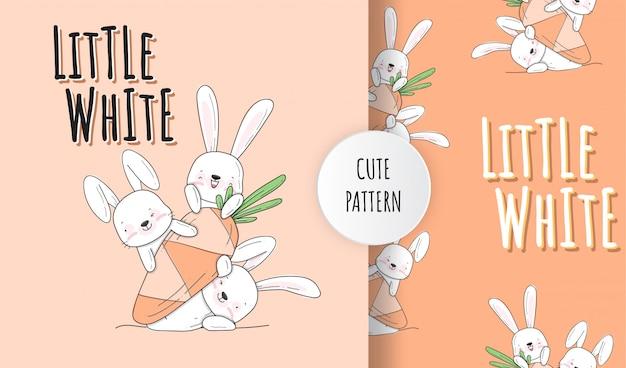 Ilustração de padrão animal plana fofa Vetor Premium