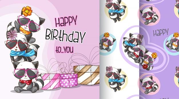 Ilustração de padrão bonito feliz aniversário de guaxinim Vetor Premium