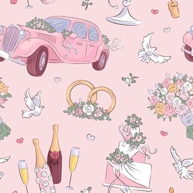 Ilustração de padrão de casamento desenhada à mão Vetor Premium