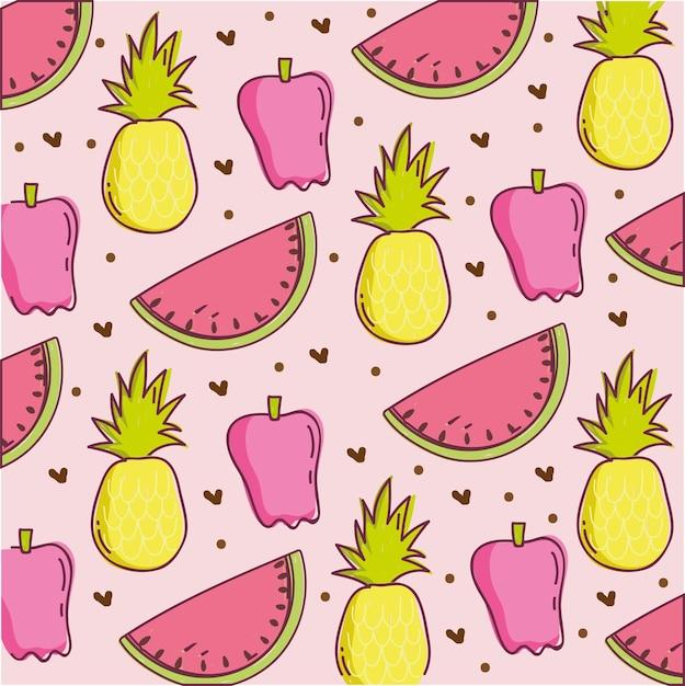 Ilustração de padrão de comida, melancia de abacaxi e decoração com pimenta fresca Vetor Premium
