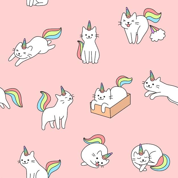 Ilustração de padrão de gato unicórnio fofo sem emenda Vetor Premium