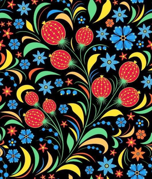 Ilustração de padrão sem emenda com ornamento floral russo tradicional. Vetor Premium