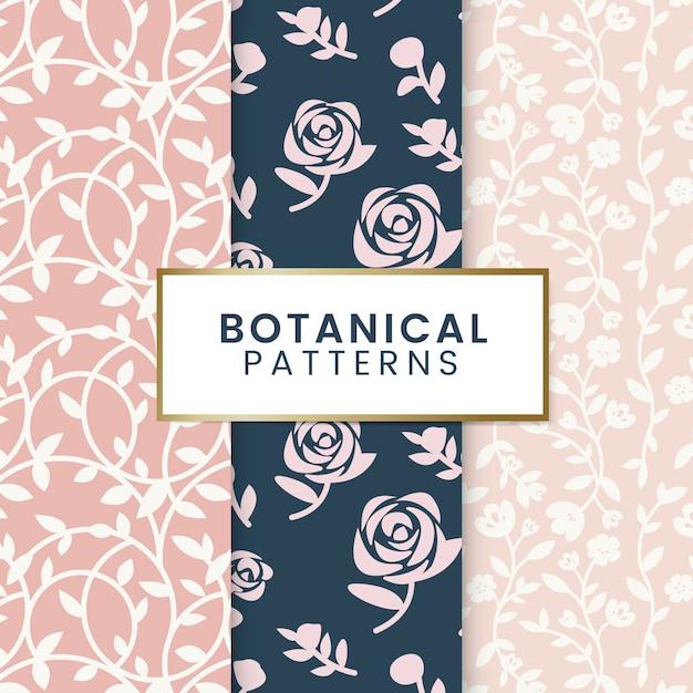 Ilustração de padrões florais botânicos Vetor grátis