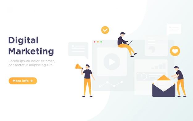 Ilustração de página de destino de marketing digital Vetor Premium