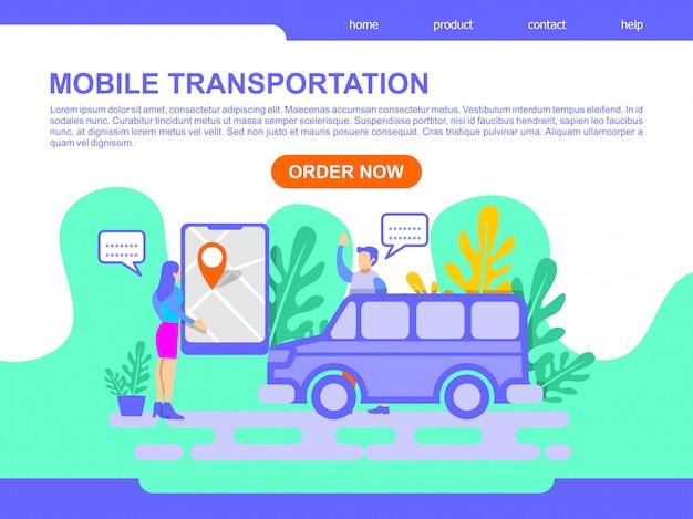 Ilustração de página de destino de transporte móvel on-line Vetor Premium