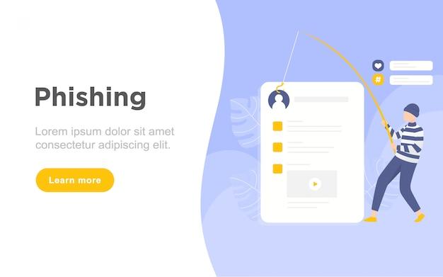 Ilustração de página de destino moderno phishing plana Vetor Premium