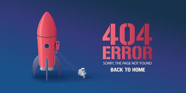 Ilustração de página de erro, banner com texto não encontrado. astronauta de desenho animado com fundo de computador para elemento de conceito de erro Vetor Premium