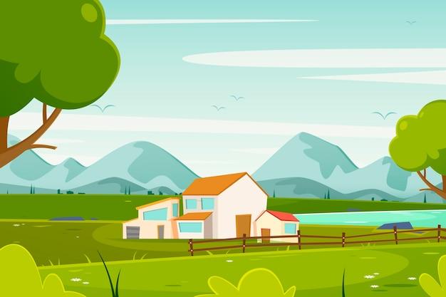 Ilustração de paisagem campestre Vetor grátis
