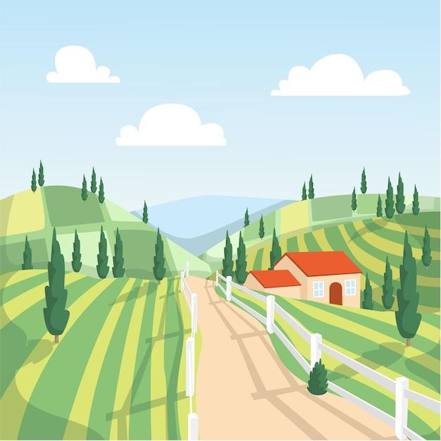 Ilustração de paisagem campestre Vetor Premium