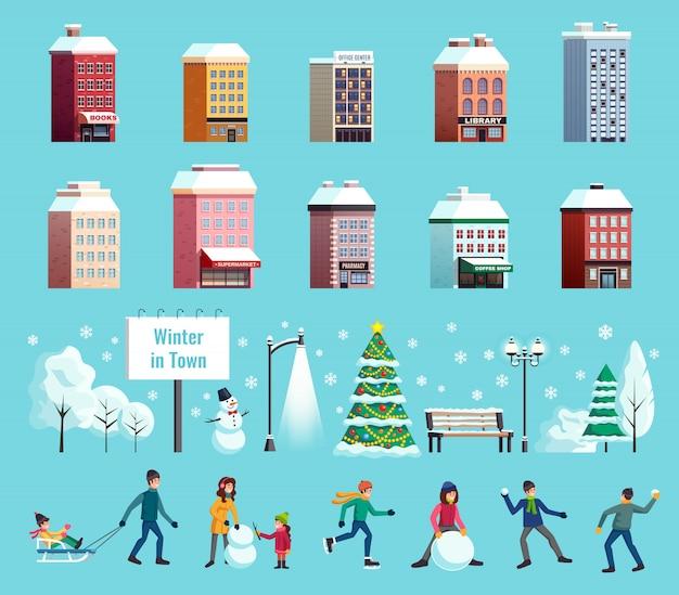 Ilustração de paisagem de cidade de inverno Vetor grátis