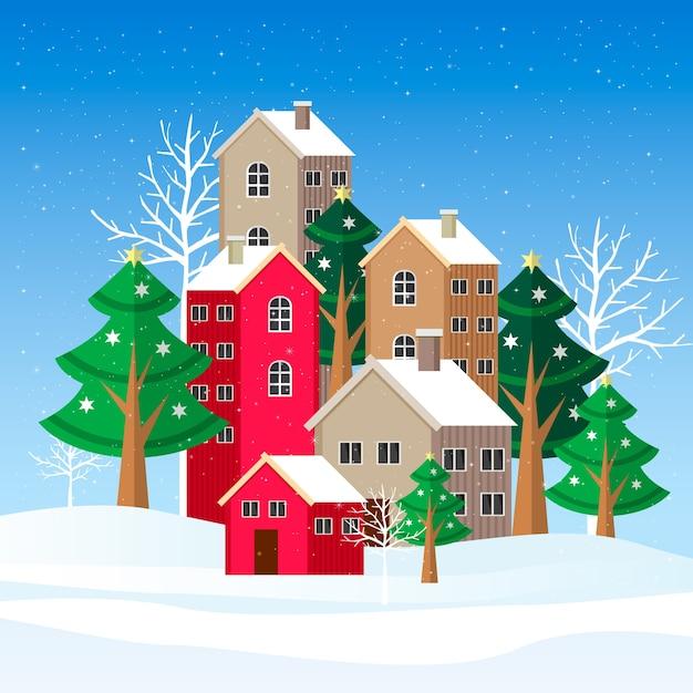 Ilustração de paisagem de inverno design plano Vetor grátis