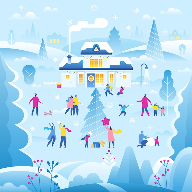 Ilustração de paisagem de inverno Vetor Premium