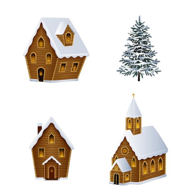 Ilustração de paisagem de natal Vetor Premium