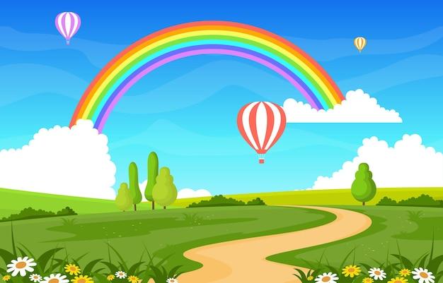 Ilustração de paisagem de paisagem de arco-íris de estrada sinuosa Vetor Premium