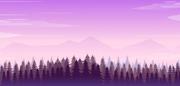 Ilustração, de, paisagem montanha, com, floresta Vetor Premium