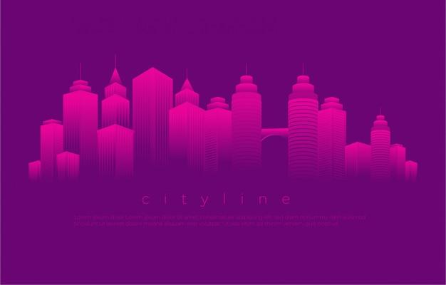 Ilustração de paisagem urbana de blocos Vetor Premium