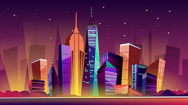 Ilustração de paisagem urbana de Nova York. Desenhos animados de Marcos de Nova York na noite, Freedom Tower Vetor grátis