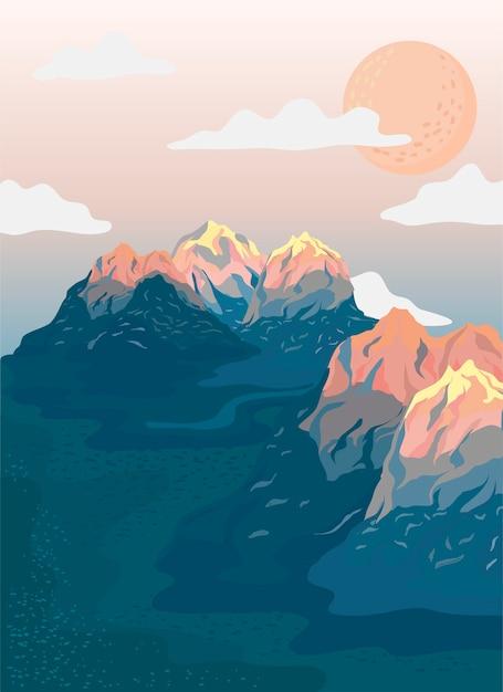Ilustração de paisagem vista montanha pintada Vetor grátis