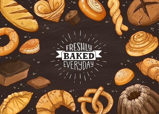 Ilustração de pão fresco Vetor Premium