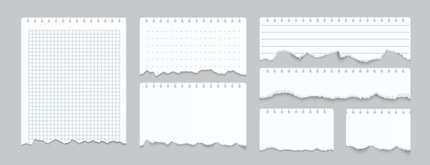 Ilustração de papel de caderno rasgado Vetor Premium