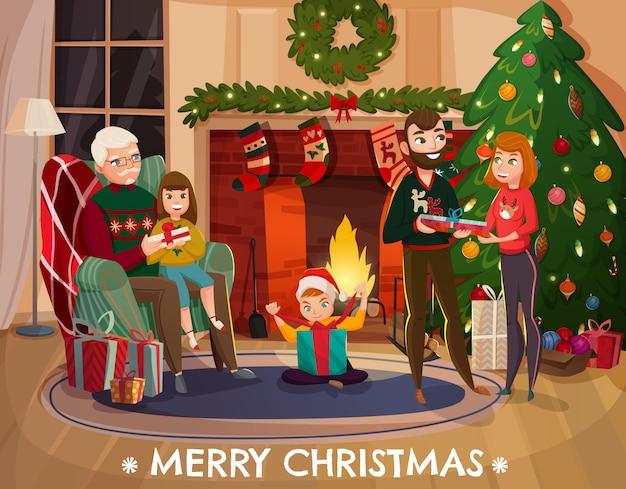 Ilustração de parabéns de natal em família Vetor grátis
