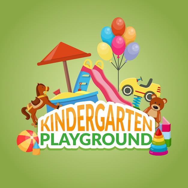 Ilustração de parque infantil do jardim de infância Vetor grátis