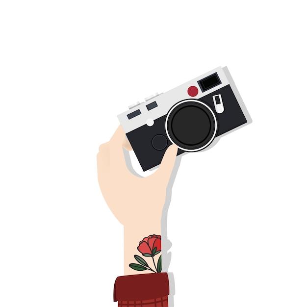 Ilustração, de, passe segurar, câmera Vetor grátis