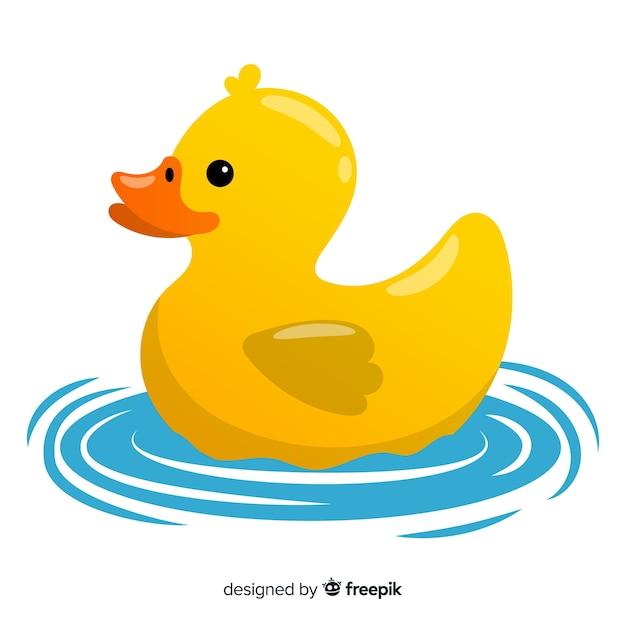 Ilustração de patinho de borracha amarelo bonito na água Vetor grátis