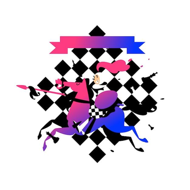 Ilustração de peões a cavalo Vetor Premium