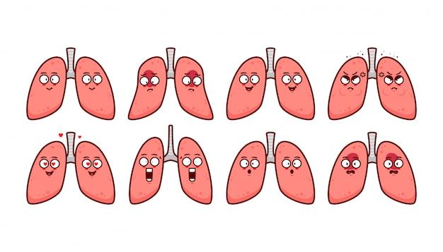 Ilustração de personagem de desenho animado bonito pulmão humano com expressão emoticon emoji conjunto feliz triste com raiva bravo franziu a testa e chateado Vetor Premium