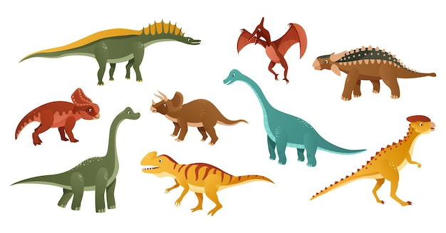 Ilustração de personagem de desenho animado de dinossauros coloridos Vetor Premium