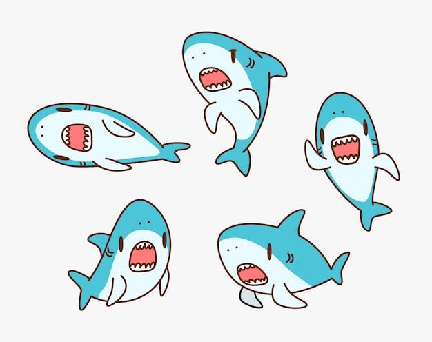 Ilustração de personagem de desenho animado de tubarão kawaii Vetor Premium