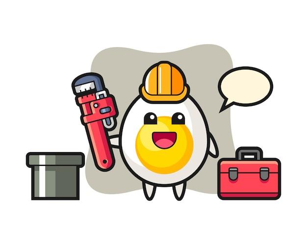 Ilustração de personagem de ovo cozido como encanador Vetor Premium